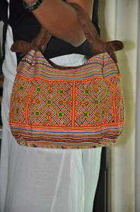 Ethnic Vintage HMONG Tribe Swede Leather Bag   Thailand