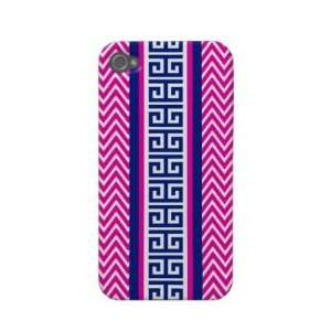 Navy and Hot Pink Chevron Greek Key iPhone Case Iphone 4 Case