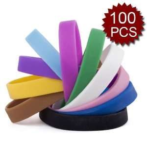 /100 Pcs)(Wholesale Lot) Assorted Colors Adult Silicone Wristbands
