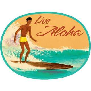 Live Aloha Vintage Surf Sticker Decal from Hawaii