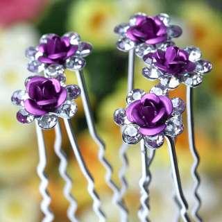 50pc Clear* Crystal Purple Rose Wedding Bridal Hairpins