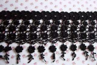 Victorian Floral Black Venise Lace Quilt Bridal Trim