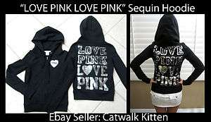 Victoria Secret Pink Collection Super Bling Sequin BLACK LOVE HOODIE