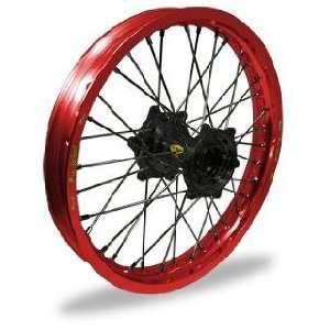 Pro Wheel Supermoto Rear Wheel Set   17x4.25   Red Rim/Black Hub 27