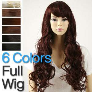 Red Brown Auburn Long Wavy Hair Full Wig 6 colors NEW