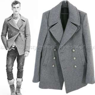 Men Double breasted Wool blend Pea Coat W/Silver Button 3 Color M/L