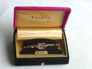 ART DECO LADIES 14K ROSE GOLD RUBY DIAMOND BULOVA WATCH