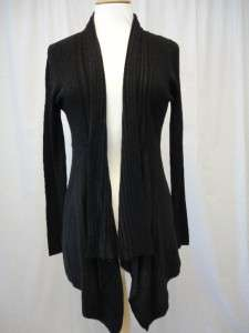 Black soft touch long sleeved, long length, wool blend waterfall