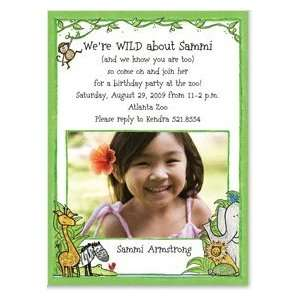 Zoo Photo Card Invitation for Girls