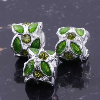 Charming Colorful Enamel Leaf Crystal Rhinestone European Beads Fit