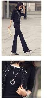 New Korea Fashion Lady Women Long Sleeve Rivet Shrug Jacket Tops 2