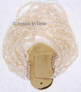 Ladies 14K Yellow Gold Diamond & Pearl Bracelet