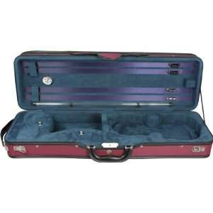 Oblong 4/4 Violin Case, Burgundy and Light Blue Musical Instruments