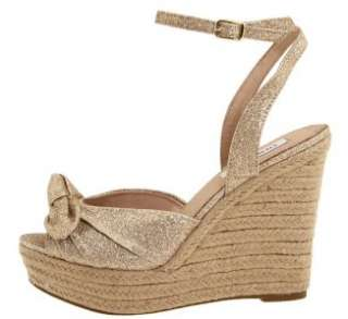 Women;s Shoes NIB Steve Madden GLISEN Espadrille Platform Wedge Gold