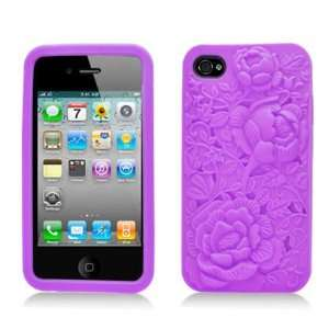 Purple Rose Flower Soft Silicone Laser Cut Skin for Apple