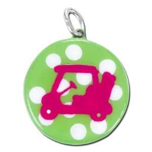 25mm Lime with White Polka Dots and Hot Pink Golf Cart