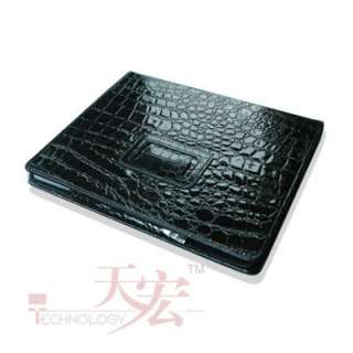 New Black Snake Leather Stand Case Cover For iPAD 2 2ND