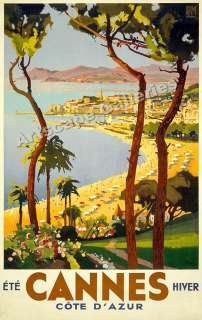 Cannes Vintage Style 1930s French Travel Poster   15x24