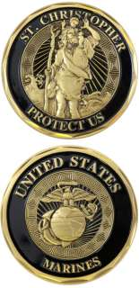 MARINE CORPS ST. CHRISTOPHER PROTECT US CHALLENGE COIN