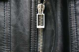 RARE SS11 PROTOTYPE Dior Homme Black Leather Vest Jacket Blouson Sz 48