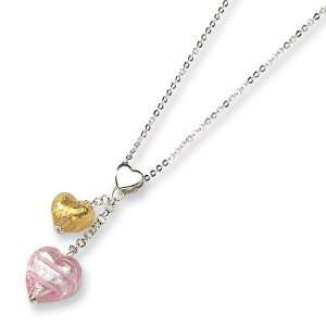 Sterling Silver Murano Glass Heart Necklace Jewelry