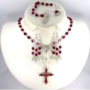 Catholic Wedding Jewelry Crimson crystal rosary set
