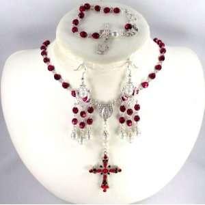 Catholic Wedding Jewelry Crimson crystal rosary set