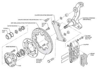 Dynapro 6 Mopar B E Body Front Disc Brake Kit 12