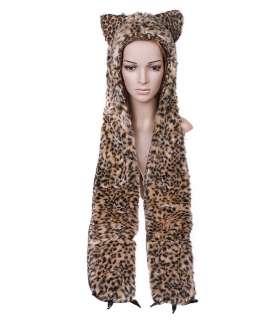 Cartoon Animal Leopard Cap Plush Soft Warm Hat Earmuff Scarf Dark