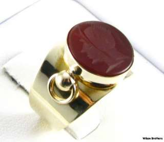 Intaglio Carved Carnellion Warrior Womens Ring   14k Gold Ring