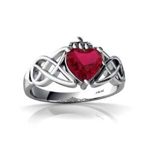 Gold Heart Created Ruby Celtic Claddagh Knot Ring Size 6 Jewelry