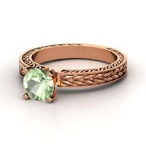 Charlotte Ring, Round Green Amethyst 14K Rose Gold Ring