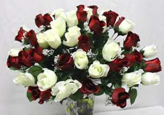 48 CREAM RED ROSE BUDS Bush Wedding Roses Bridal Bouquet Centerpiece