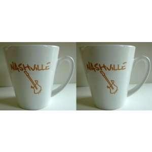 Nashville mug Set of 2 cafe style souvenir coffee cups white ceramic