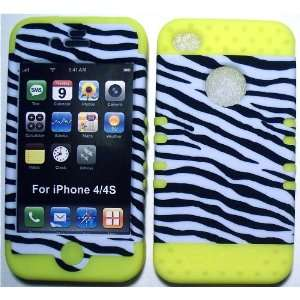 White Black Zebra on Yellow Silicone for Apple iPhone 4 4S Hybrid 2 in