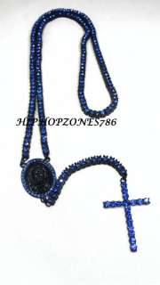 ROW BLACK/BLUE ROSARY CROSS CHAIN NECKLACE ICED OUT