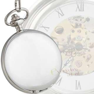 High Polish MECHANICAL Silver Pocket Watch Clock Hollow