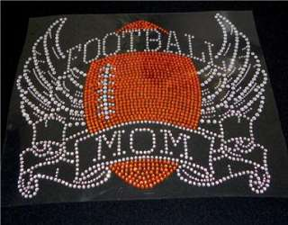 Football Mom with Wings Rhinestone Iron On Transfer