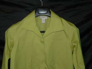 Bright Green Long Sleeve Blouse Shirt Chicos Cotton Chartreuse