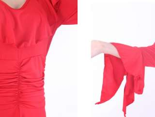 Flamenco salsa tango Ballroom Dance Dress #D018 Red