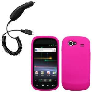 Hot Pink Silicone Skin / Case / Cover & Car Charger for Samsung NEXUS