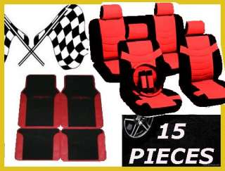 RED BLACK 15 pc CAR TRUCK SEAT COVERS FLOOR MATS snf4
