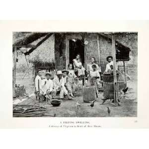 1909 Print Republic Philippines Filipino Family Dwelling Plait Bamboo