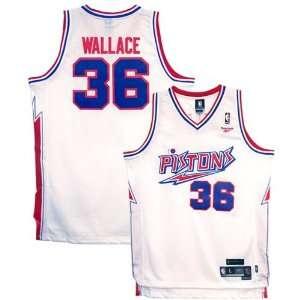 Reebok Detroit Pistons #36 Rasheed Wallace White Hardwood
