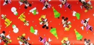 CHRISTMAS MICKEY MOUSE CLUBHOUSE gift wrap MINNIE party