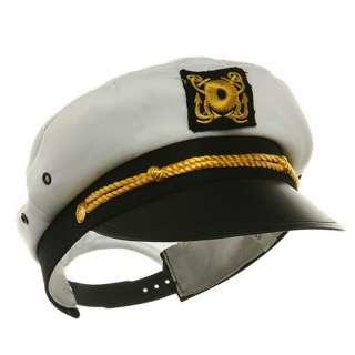 ADULT WHITE COTTON SAILOR CAPTAIN YACHT NAVY CAP HAT