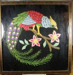 Victorian Framed Punch Needle Embroidery Bird Of Paradise On Velvet