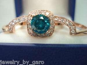 14K ROSE GOLD 1.51 CARAT BLUE & WHITE DIAMONDS ENGAGEMENT RING & BAND