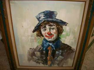 Original Oil Painting Circus Clown Art by F. Dressen