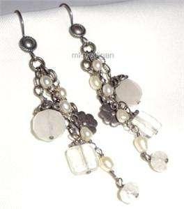 Silpada Rare Sterling Silver Pearl Crystal Flower Earrings W1249 Box
